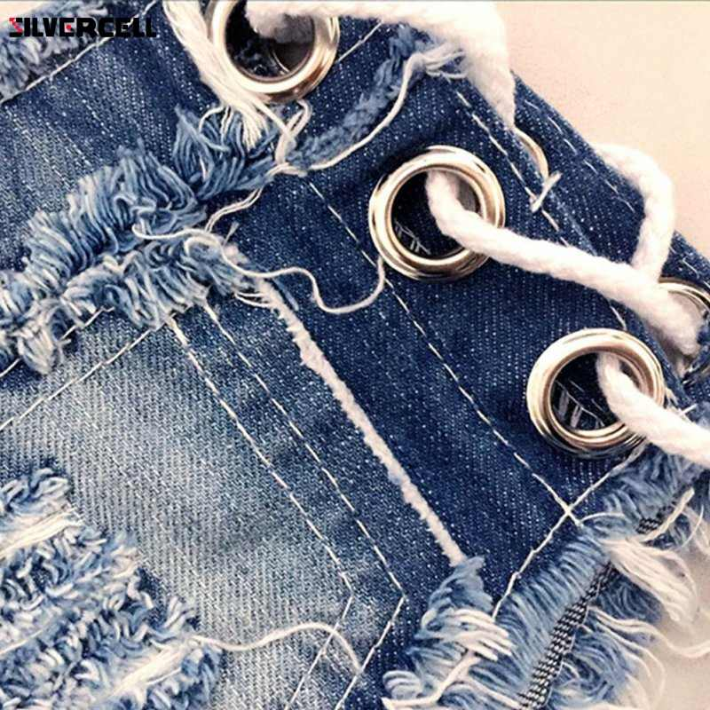 Kobiety Sexy jeansowe spodenki jeansowe lato moda bawełna lace-up Sexy super Hole przycisk krótki spodnie Skinny super krótki dżinsy