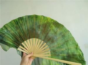 Image 4 - Профессиональная шелковая Фата для танца живота Neilos, черный цветок на зеленом фоне, длинные вееры для танца живота разных размеров, бесплатная доставка