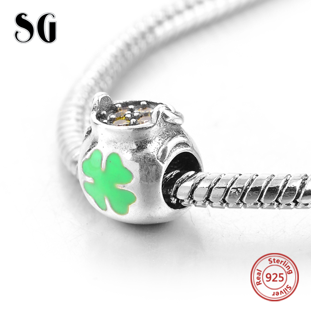 Fit Authentic Pandora Charms Bracelet Silver 925 Original Flower Pot With Lucky Four Leaf Clover Beads For Women Fashion Jewelry
