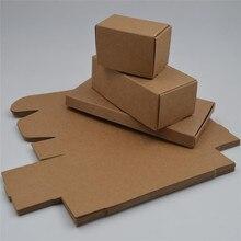 Siyah beyaz doğal kahverengi Kraft kağit kutu küçük takı hediye ambalaj kutusu karton karton ev DIY sabun ambalaj kutusu 20 boyutları