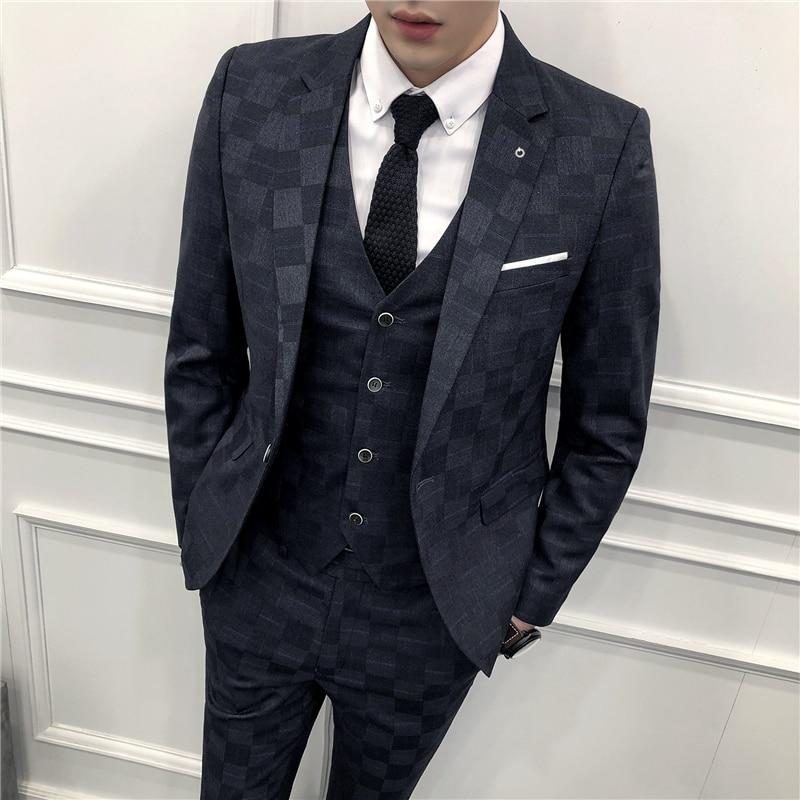 Pattern Plaid Suits For Men 3 Piece Costume Homme Mariage Blue 3 Colors Smoking Masculino Slim Suit Business Men's Dress Suits