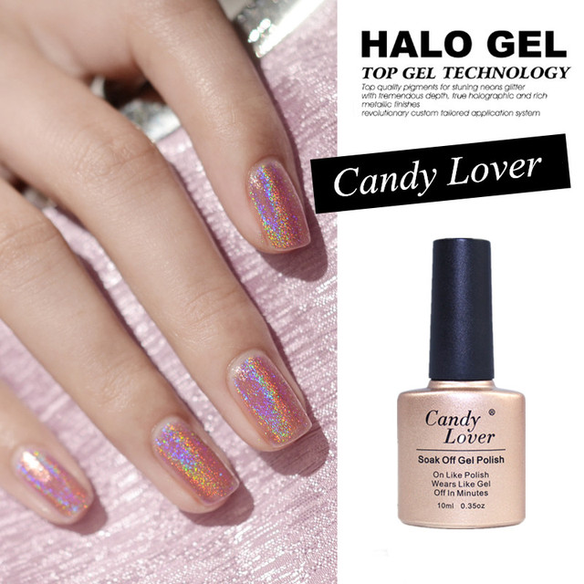 Gel Len Arrival 3D Holographic Halo Glitter Nail Polish Pink Colors Soak Off Led