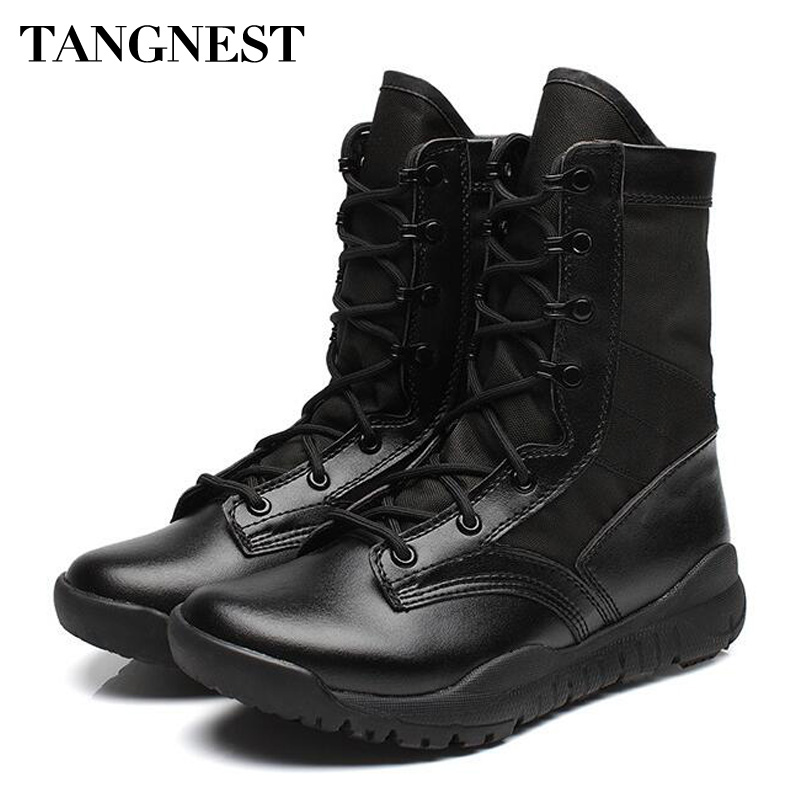 Tangnest NEW Men Military Combat Boots Solid Spring Autumn Mens Desert Boots Non-slip Rubber Boot Shoes Big Size 38~46