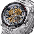 Winner Men's Automatic Mechanical Skeleton Watch Stainless Steel Strap Supersize Case Gear-shaped Rotation Tachymeter Case +Box