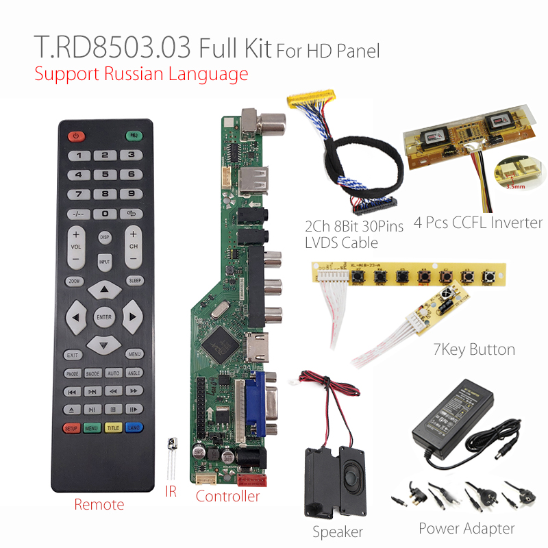 T RD8503 03 Universal LCD LED TV Controller Driver Board 7 Key button 2ch 8bit 30