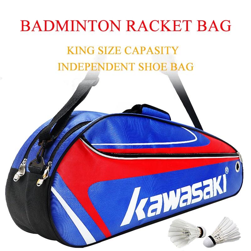 Kawasaki Racket Badminton Bag Waterproof Single Shoulder Squash Racquet Team Sports Bags Can Hold 3-6 Rackets With Shoe Bag quality broken wind chinese dragon badminton rackets carbon fiber professional offensive racquets single racket q1013cmk