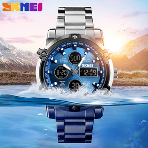 Image 3 - SKMEI Digital Quartz Watch Men Outdoor Sports Countdown Waterproof Stainless Steel Strap Wristwatch Men Clock Relogio Masculino