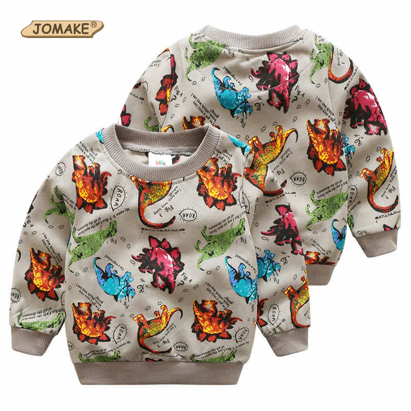 New Spring Children Long Sleeve T-Shirts Dinosaur Printed Kids Pullover Tops For Boys Fashion New Style Sweatshirts Boys Clothes