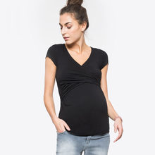 Deep V-neck Short Sleeve Maternity Breastfeeding Tops Pregnancy T-Shirts Nursing Clothes For Pregnant Women Feeding Tee Clothing(China)