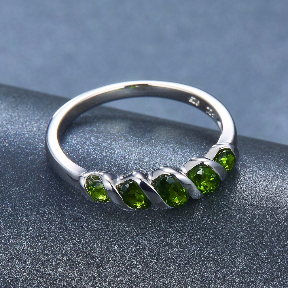 Image 4 - Hutang Wedding Rings Natural Diopside Ring Pure 925 Sterling  Silver 5 stone Fine Jewelry Vivid Green Gemstones for Womens  Giftchrome diopside ringchrome diopsidegemstone rings silver -