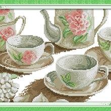 Rose Tea Set Still Life Canvas DMC Cross Stitch Kits 100% Ac