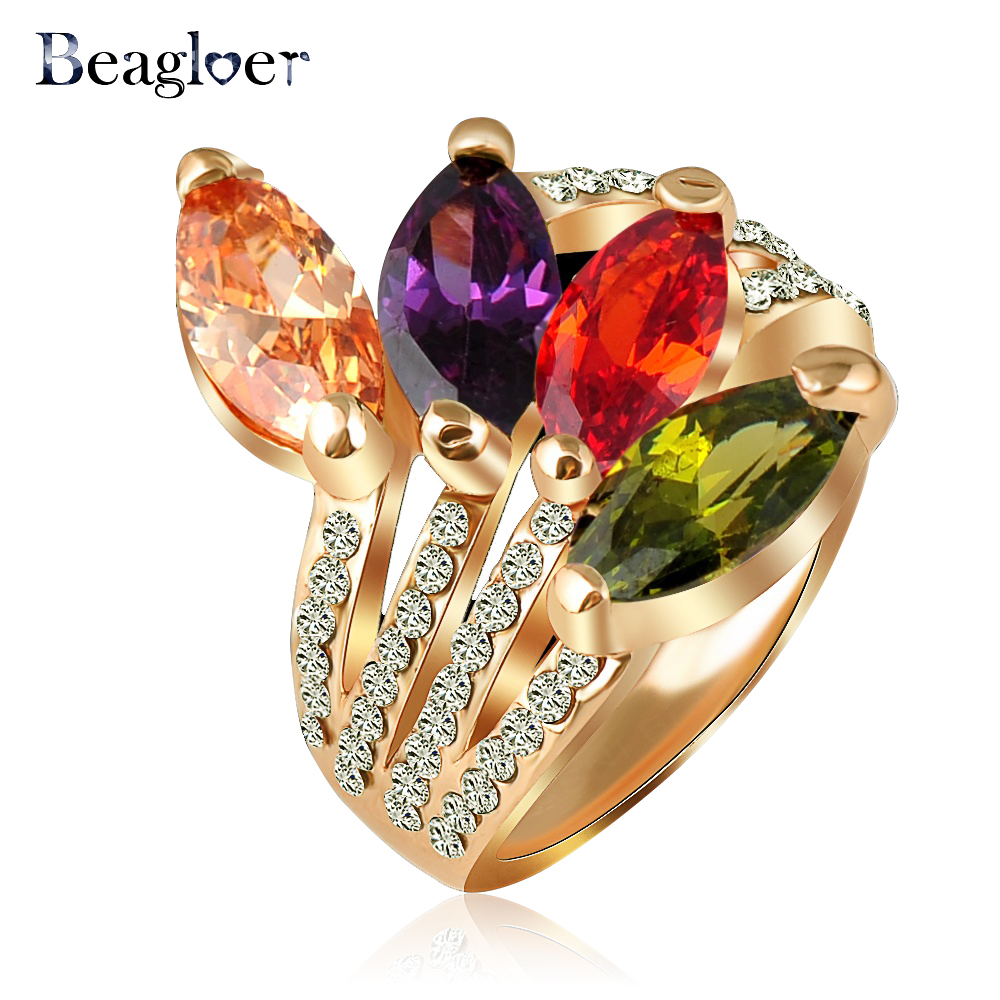 Beagloer Wholesale Fashion Leaf Shape Crystal Ring Gold Color Engagement  Rings Costume Jewelry Rihq0221