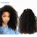 240 g pelo virginal brasileño rizado rizado Clip en extensiones de cabello 3B 3C afroamericano Clip en extensiones de cabello humano 6A grado