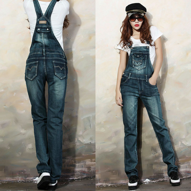 Female New Brand Fashion Street Denim Bib Summer and spring Women   Jeans   Spaghetti Strap Slim Pants jardineira   jeans   feminina