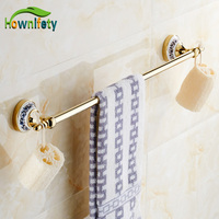 Golden Color Bathroom Towel Rack Single Towel Bar Bathroom Accessories Blue White Porcelain Towel Holder Wall