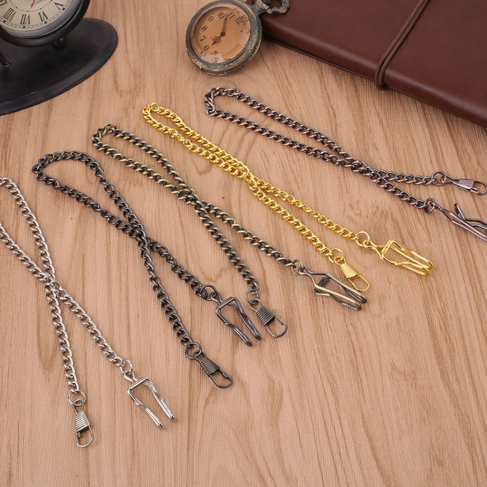 White/Black/Green Bronze/Gold/Red Bronze Alloy Pocket Watch Chain Vintage Pocket Watch Holder Necklace Chain