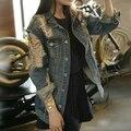 Fashion vintage chaquetas mujer ripped distressed jeans jackes women veste en jean femme oversized boyfriend denim jacket