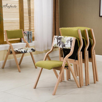 SUFEILE Folding Chair Scandinavian Designer Simple Casual Wooden Elbow Chair Horn Chair Solid Wood Dining Office