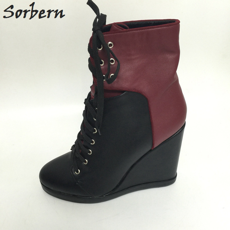 Sorbern Women High Heel Boots Wedge Shoes Ankle Boots Heels Womens Ankle Fall Winter Boots Ankle Boots For Women Size 34-46 купить в Москве 2019