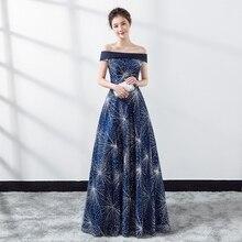 Fashion Blue Evening party Cheongsam Dress Strapless Long Qipao women sexy modern Chinese robe Feminino vestido