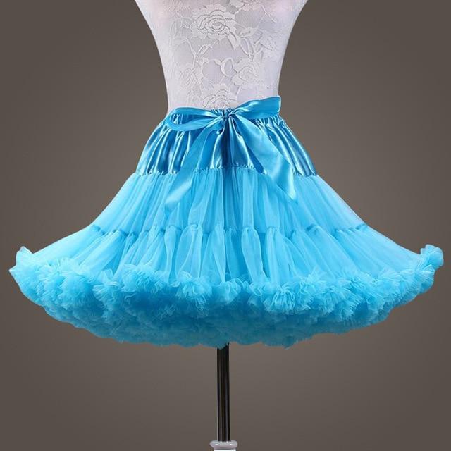 48a086948e72 Amarelo Azul cosplay Mulher Elástico Na Cintura Curto Mini Underskirt Rockabilly  Anágua Três Cores Ruffle Tulle 2019 New Arrival