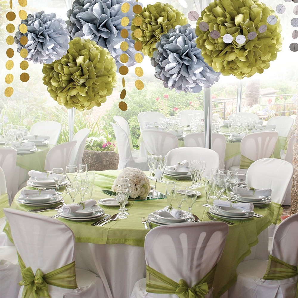 8pcs/set Silver And Gold Circular Folded Paper Flower Ball Party Supplies  Wedding Decoration Window