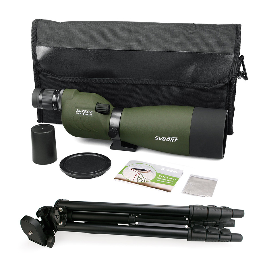 Image 5 - SVBONY SV17 Spotting Scope 25 75x70 mm Zoom Nitrogen 180 De for Target Hunting Archery Telescope with Long 49 inch Tripod F9326G-in Spotting Scopes from Sports & Entertainment