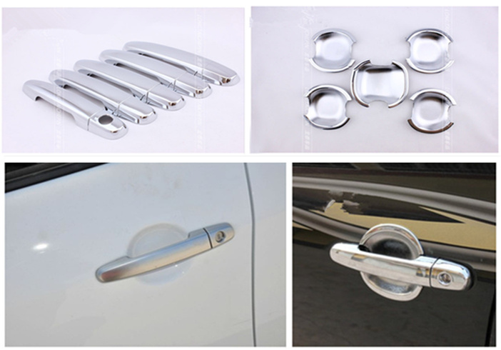 Abs Chrome Car door handle + Cup Bowl covers car accessories For <font><b>Toyota</b></font> <font><b>RAV4</b></font> 5 Door <font><b>2006</b></font> 2007 2008 2009 <font><b>2010</b></font> 2011 2012 2013 image