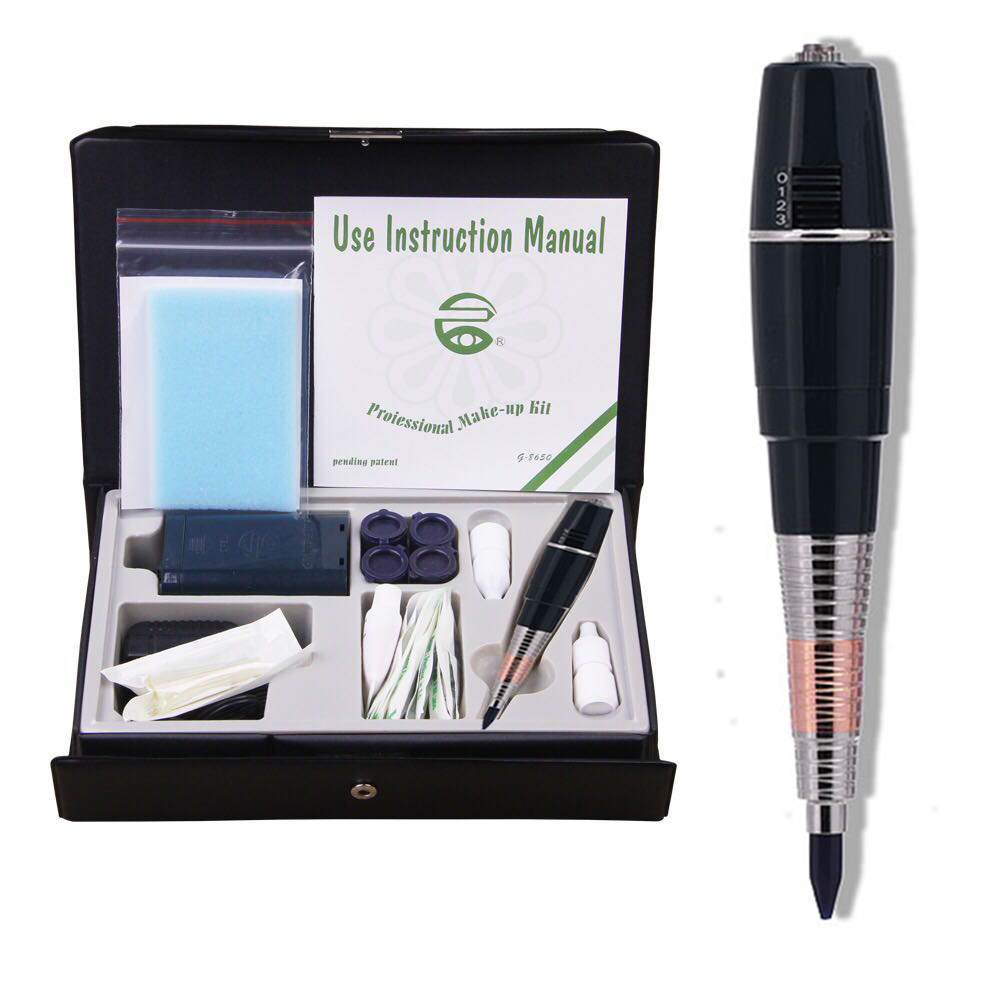 Pro Permanent MakeUp Tattoo Machine Pen For Eyebrows Forever Make Up GS Microblading Tattoo Kit With Needles Ink Power Supply цена 2017