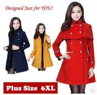 Plus Size Khaki Woolen Trench Coat For Women Autumn Winter Womens Sobretudo Feminino Abrigos Y Chaquetas