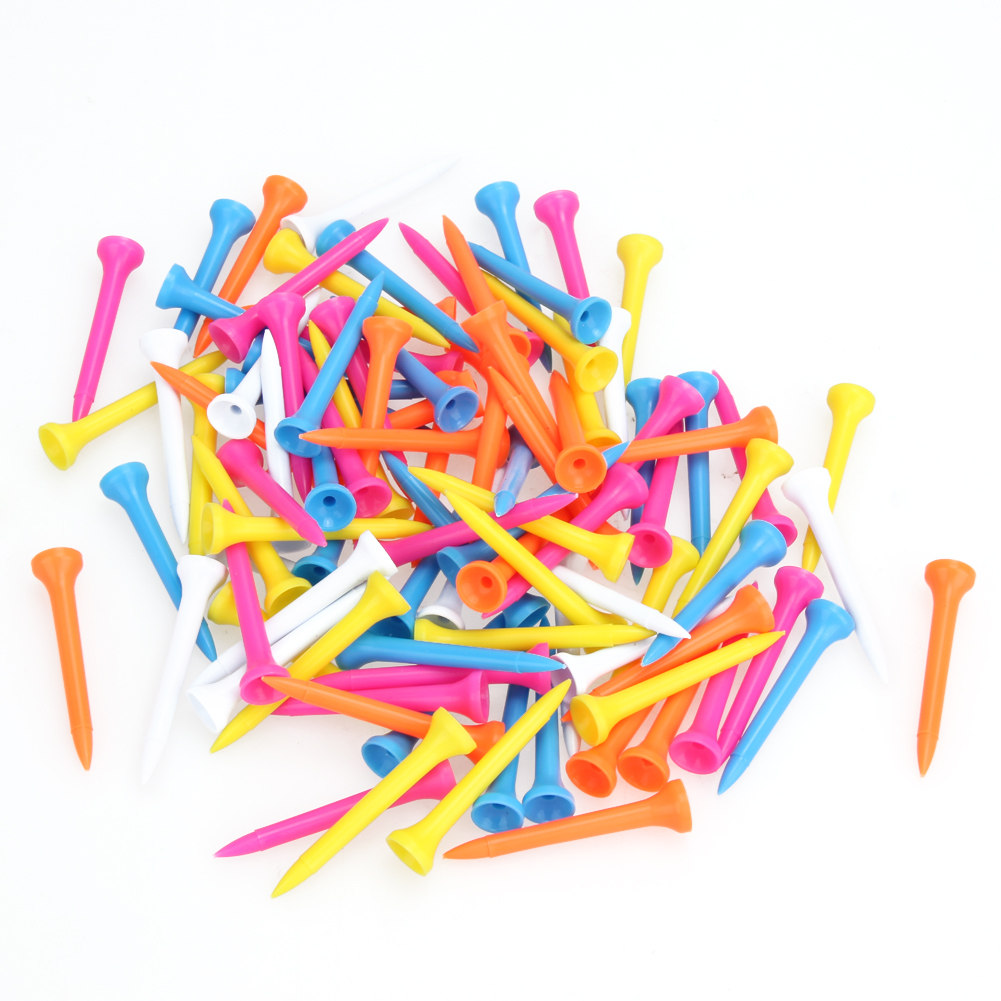 100Pcs/Set 54mm Plastic Golf Tees Set Wood Golf Tees Golf Training Accessories For Golfer Mixed Color