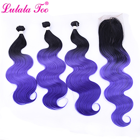 Пряди из синтетических волос 16 20 дюймов с закрытием фиолетовые