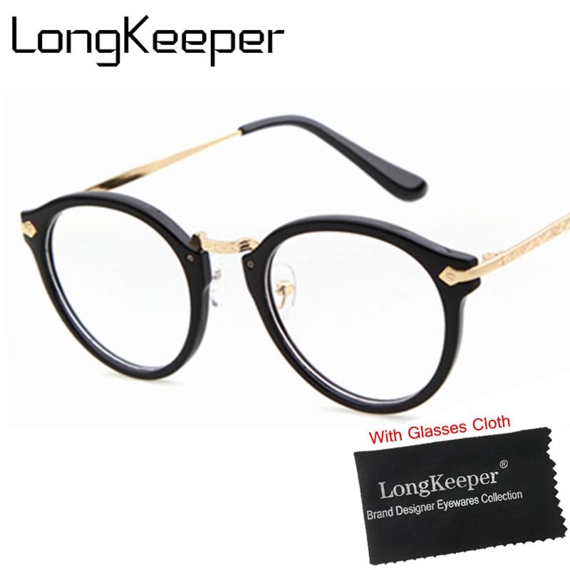 LongKeeper Lunettes Cadre Femmes Ronde Eyeware Accessoires Propre lentille  Rétro lunettes marque designer gafas de grau PSTY670 7189bef50bfc
