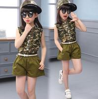 2018 Beanie Enfants Vêtements Nouveaux Vêtements Pour Filles D'été de Mousseline de Soie Camouflage Ensemble Avec Ceinture 3 pièce Armée Vert enfants de bal costumes