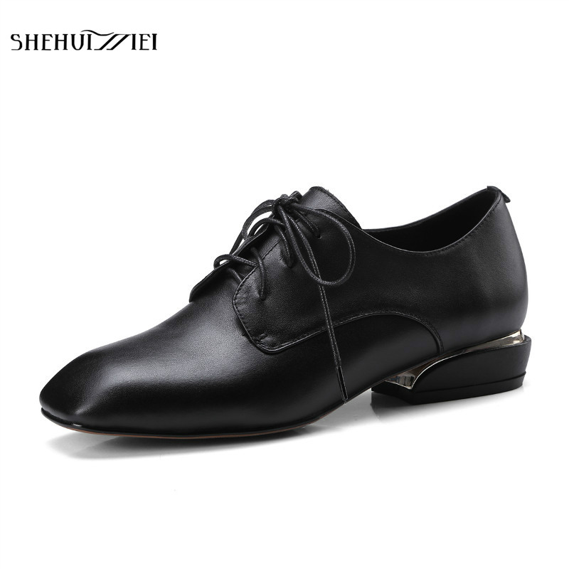 SHEHUIMEI Women Genuine Leather Vintage Flats Casual Shoes Square Toe Handmade Lace Up Cow Leather Oxford Shoes for Women 2018 plus size 34 42 new genuine leather women shoes lace up totem flats square toe handmade creepers oxford shoes woman casual shoes
