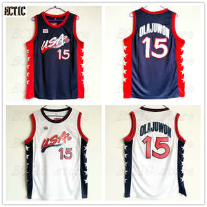 ECTIC Embroidery jersey 2018 Hakeem Olajuwon  15 USA Blue Retro Throwback  Stitched 9d3898f73
