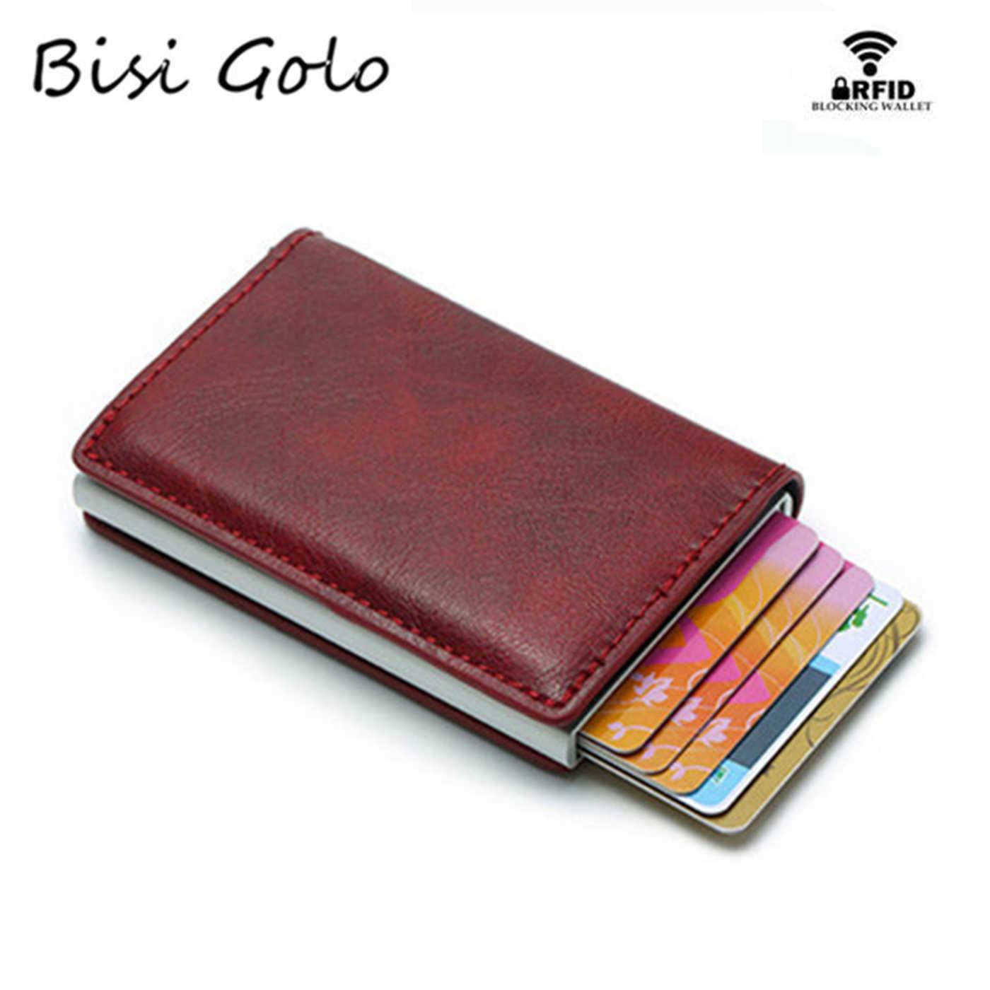 BISI GORO Antitheft Vintage Credit Card Holder Blocking Rfid Pop Up Wallet PU Leather Unisex Security Information Aluminum Purse