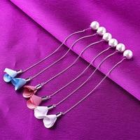 KAMEIER European simple Cloth 925 Sterling silver long earrings for women and tassel flowers statement earrings for women gift