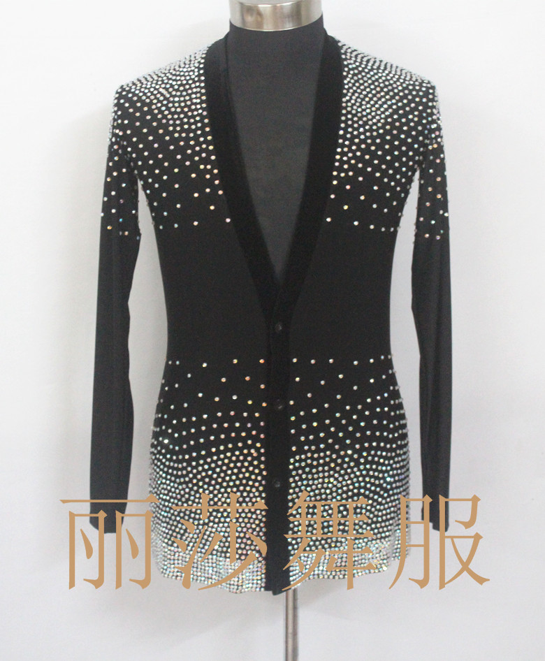 Sexy Customize National Standard Dance New Men's Top Latin Clothes With Rhinestone
