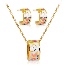 Enamel Color Butterfly Jewelry Set Abstract Pink White Necklace & Pendant Wedding for Women Copper Alloy
