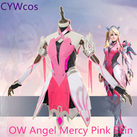 OW Angel Mercy Pink Skin Cosplay Costume Full Sets Costume Halloween Costume Party Suits Dress+Socks+Gloves+Arm Armor+Headdress
