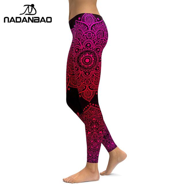 New Arrival Women Leggings Red mandala Aztec Round Ombre Leggins Fitness 3D