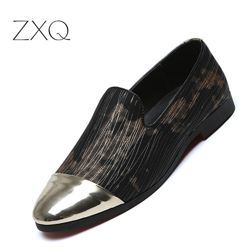 New Fashion Plus Size 6-12.5 Men Party Loafers Pointed Toe Flat Shoes For Men Slip On Moccasins Casual Shoes