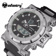 INFANTRY Men Watches Reloj Digitqal Fashion Military Watch Army Black Chronograph Silicone Wrist WatchQuartz Backlight 3ATM