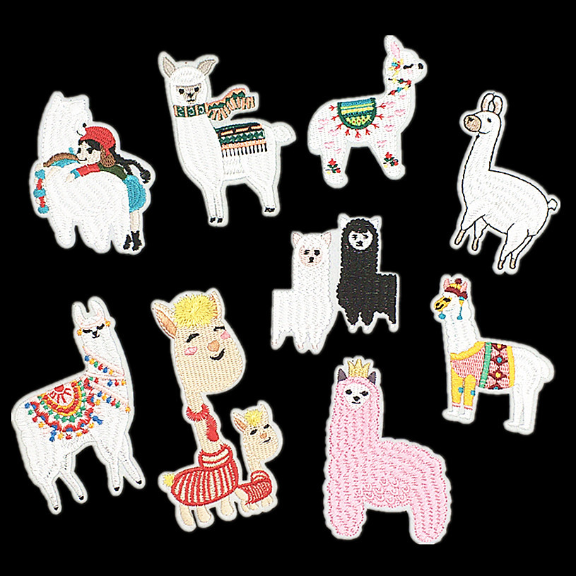 Animal Cartoon Alpaca Fabric Patch Embroidered Iron On Patches For Clothing DIY Decoration Clothes Stickers Applique Badge