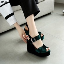 New arrivals sandals women Corduroy wedge ankle wrap buckle strap platform super high heel green red yellow black shoe