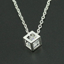 Silver Zircon Necklaces Crystal Square Box Pendant Choker For Women Rhinestone Charm Female Fashion Jewelry Accessory(China)