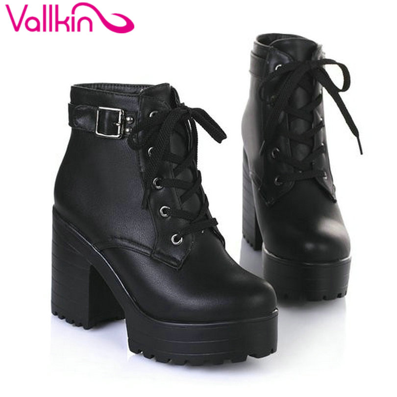 VALLKIN New 2016 Women Ankle Boots Round Toe Platform Buckle Square High Boots For Women Fashion Winter Punk Shoes Size 34-43 стоимость