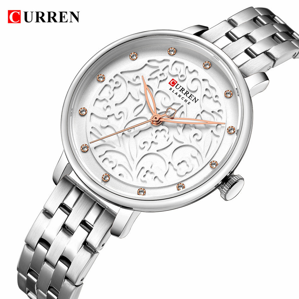 CURREN 2019 Woman Watch Water Proof Ultra Thin White Women's Wristwatch Silver Steel Small Dial Ladies Watches Top Brand Luxury(China)