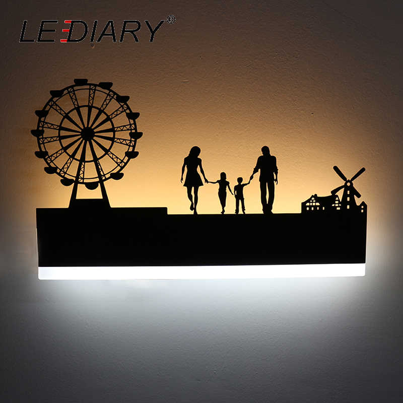 LEDIARY Retro LED Wall Lamp Creative Painting 110-240V Modern Black Sconce Decoration For Bathroom Living Bed Room Animal